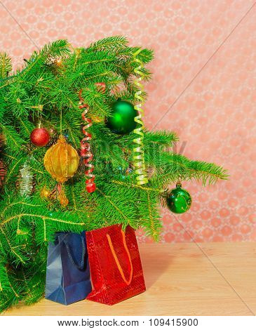 Fragment Of A Christmas Trees And Christmas Gifts