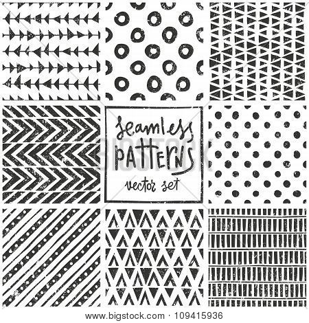 Set of 8 primitive geometric patterns. Tribal seamless backgrounds. Stylish trendy print. Modern abs