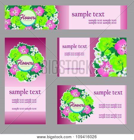 Set of four cards with floral pattern in pink for your business