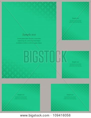 Turquoise page corner design template set
