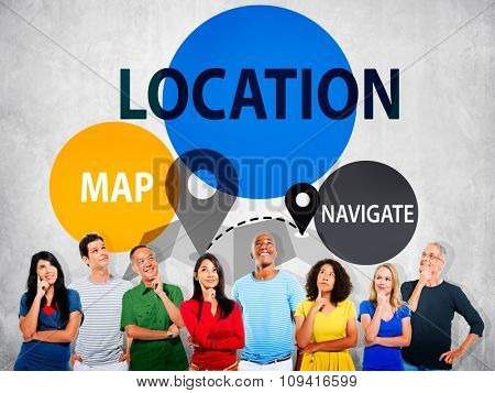 Location Destination Navigation Map Direction Concept