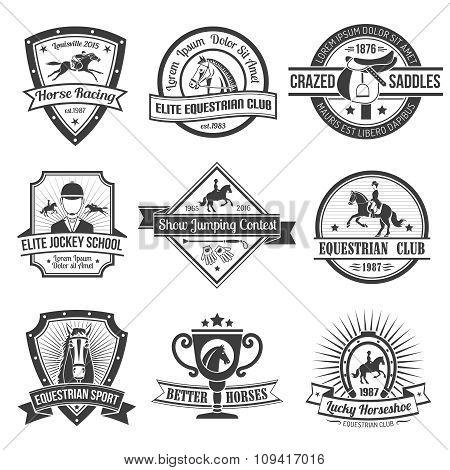 Equestrian Sport Emblems Set