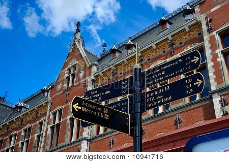Road signs of Amsterdam central railway station,Holland