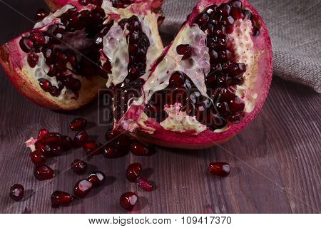 Pomegranate Broken And Seeds