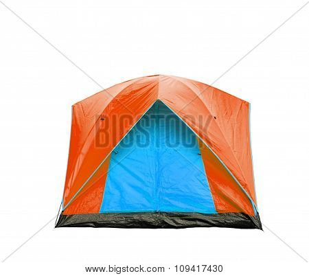 Isolated Blue And Orange Dome Tent