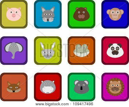 Set of 12 cute animals.