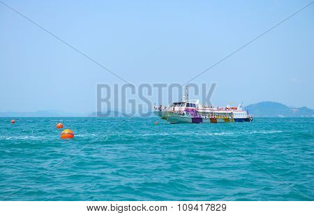 Large Passenger Ship On Blue Water Of Andaman Sea