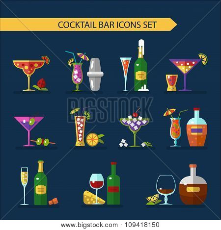 Bottles, drinks, and cocktails icons