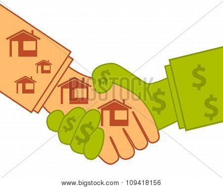 Buying real estate. Good deal. Business concept. Vector illustration