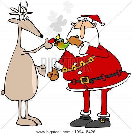 Reindeer lighting Santa's pot pipe