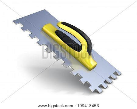 Finishing trowel with yellow black rubber handle. 3D render