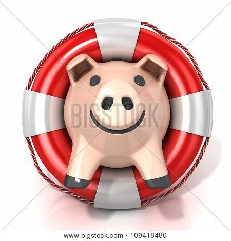 Piggy bank with lifebuoy. Front view