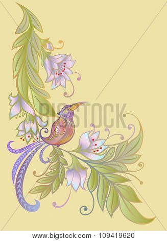 Bird on a branch.Flowers. Natural background.pastel colors