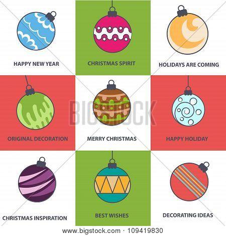 Flat Style Christmas Balls