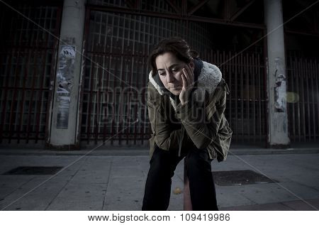 Woman Alone On Street Suffering Depression Looking Sad Desperate
