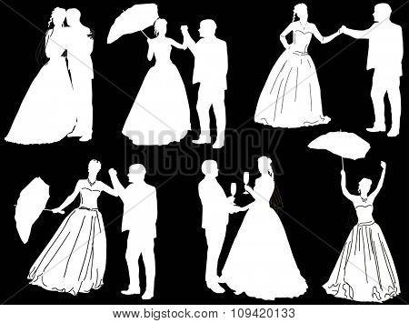 illustration with wedding couples isolated on black background