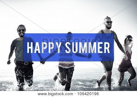 Happy Summer Friendship Beach Vacation Concept