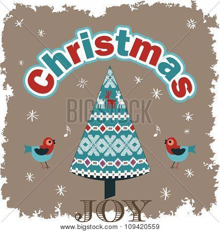 Christmas Joy - Singing birds pattern tree grunge snow