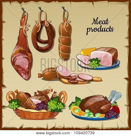 Delicious sausages, hams and and other meat products