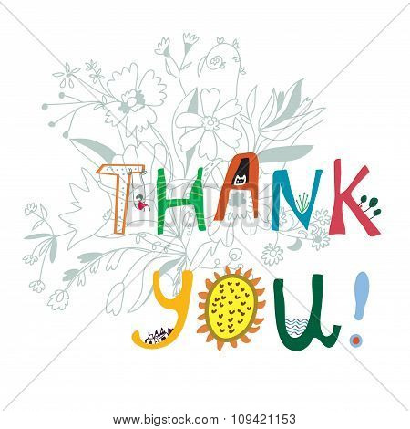 Thank You Print With Flowers And Lettering