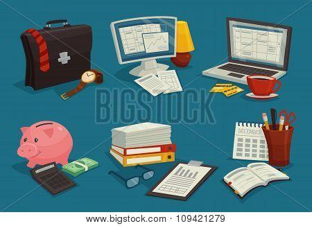 Business Cartoon Icons Set