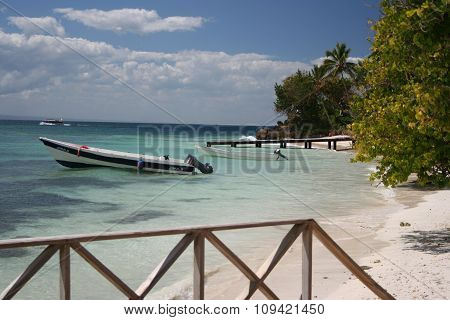 Speed boat anchored on beach