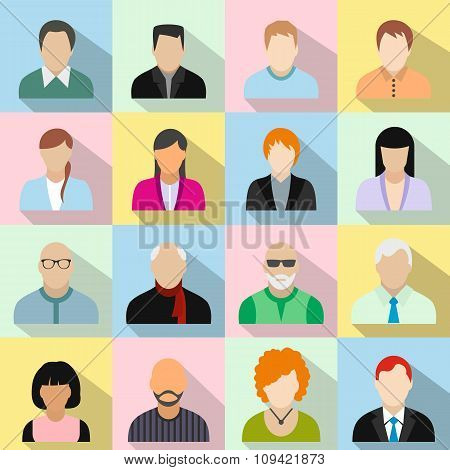 16 characters flat icons set