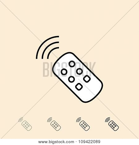 TV remote control icon. Vector icon in four different thickness. Linear style