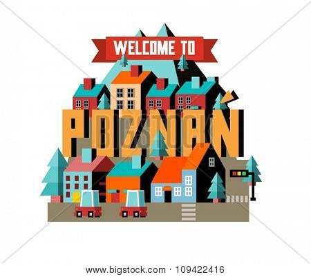 Poznan in Poland is Beautiful city to visit on holiday, vector cartoon illustration
