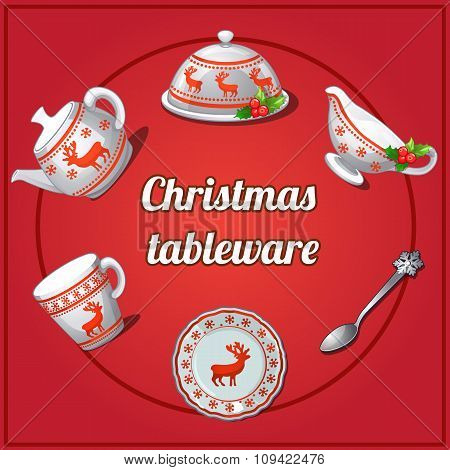 Christmas set of dishes, six different elements with reindeer