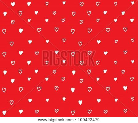Red hearts seamless pattern with love