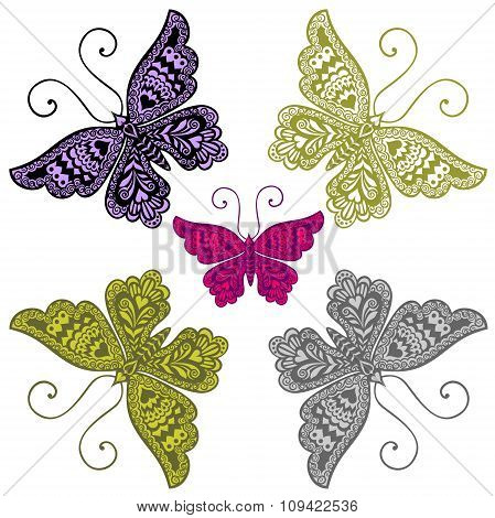 Five multi-colored butterflies.pattern.tattoo