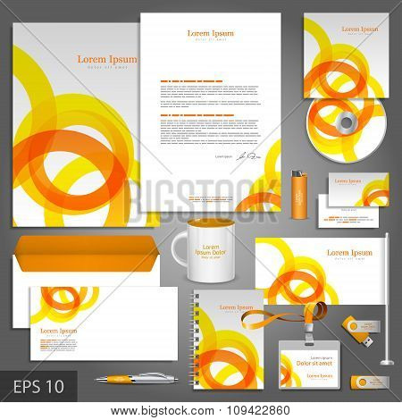 Corporate Identity Template With Orange And Yellow Round Elements