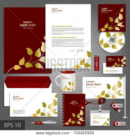 Corporate Identity Template With Golden Floral Elements