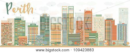 Abstract Perth skyline with Color buildings. Vector illustration. Business and tourism concept with skyscrapers. Image for presentation, banner, placard or web site