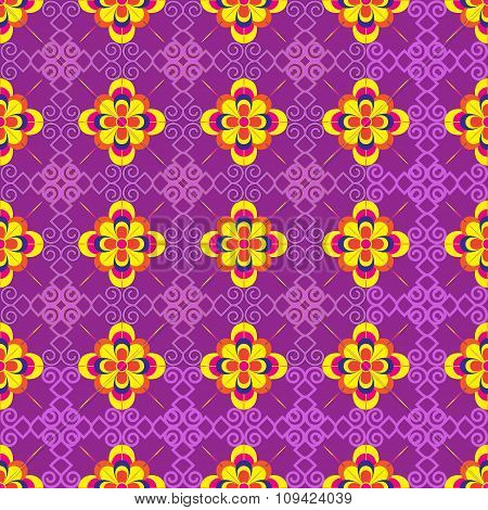 Vector Seamless Multi-collor Flowers Background