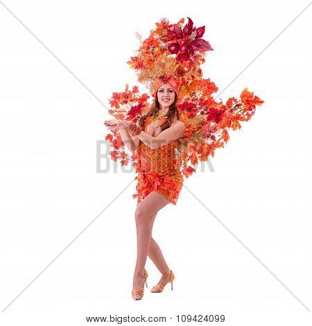 carnival dancer woman dancing against isolated white