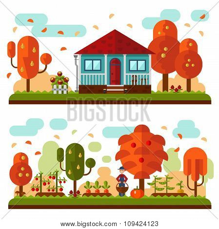 Autumn landscapes with garden