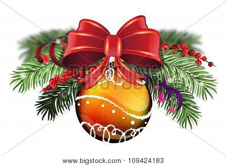 Orange Bauble With Red Bow