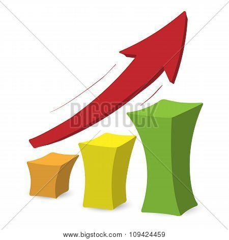 Chart with arrow colorful cartoon