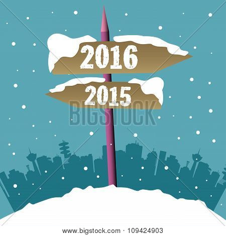 New Year signpost