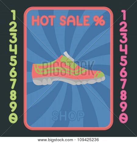 Sport Shoe Flat Design Icon. Vector Hot Sale Label.