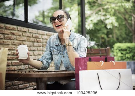 Woman Shopping Outdoor Talking Mobile Phone Concept