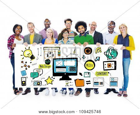 Diversity Casual People Web Design Content Teamwork Support Concept