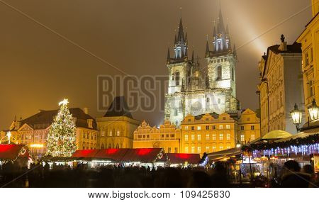 The Old Town Square in Prague at winter night