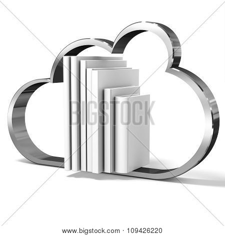 3D Cloud With Blank Books