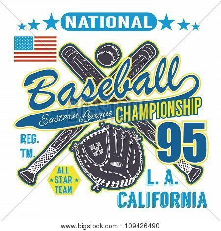 Baseball Sport Typography, Eastern League Los Angeles, Sketch Of Crossed Baseball Batsand Glove T-sh