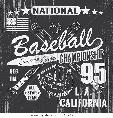 Baseball Sport Typography, Eastern League Los Angeles, Sketch Of Crossed Baseball Batsand Glove T-sh