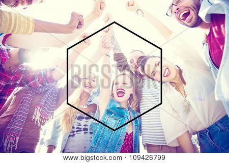 Hexagon Icon Frame Symbol Copy Space Concept