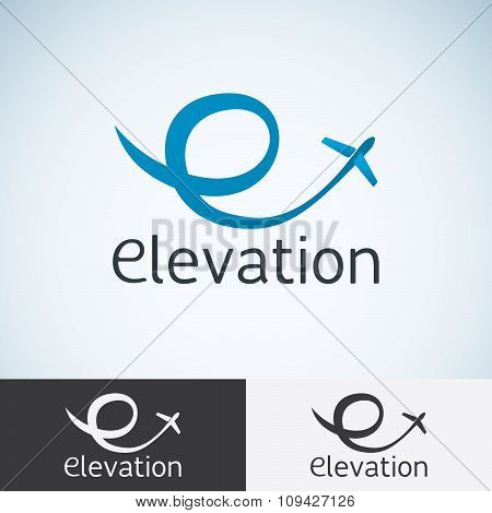 Letter E, Logo Concept Template For Start Up, Flight Company, Air Shipping, Airlines Logotype Or Emb